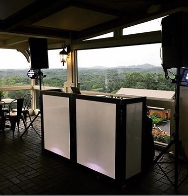 DJ booth setup for a wedding