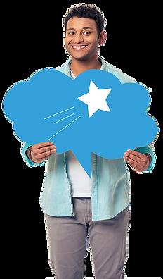 homme brn métisse portant panneau bulle nuage bleu avec étoile filante