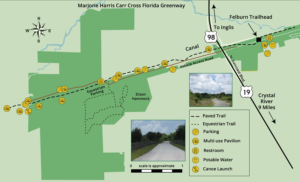 Map of the Withlacoochee Bay Trail and Felburn Park Map