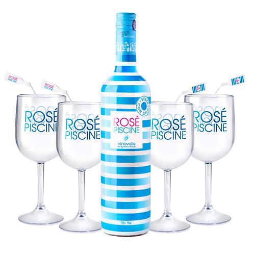 Taça Acrílico Cristal + Misturadores de drink + Rosé Piscine Stripes (750ml)