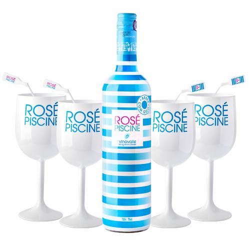 Taça White + Misturadores de drink + Rosé Piscine Stripes (750ml)
