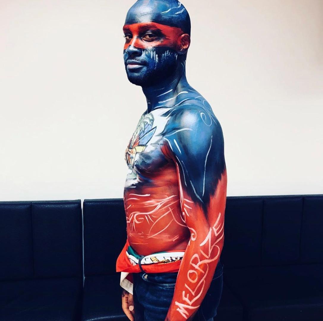 Body painting Haitian Flag, Carifiesta 2019