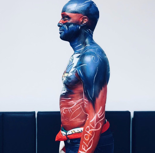 Body painting Haitian Flag, Carifiesta 2019
