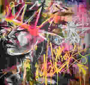 spray paint on canvas, graffiti style painting, urban art
