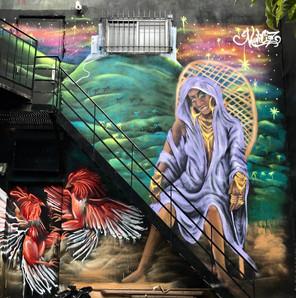Murale réalisée au festival de graffitis Under Pressure 2019