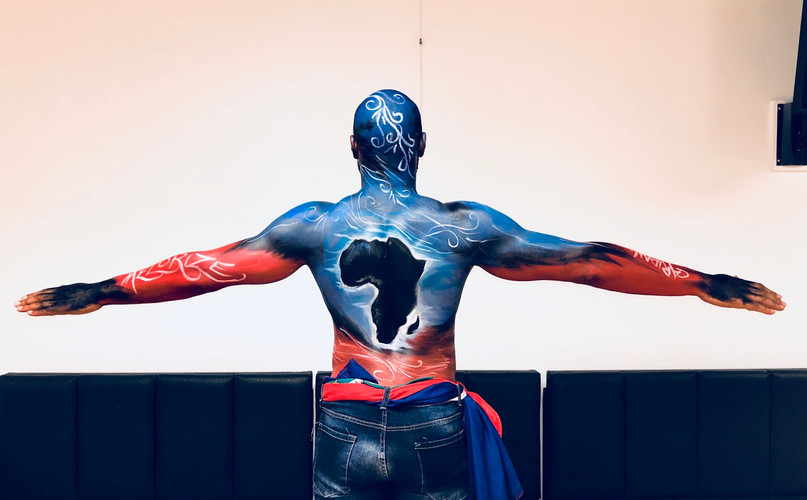 Haitian African Haitian Flag African Map Body Painting , Carifiesta 2019