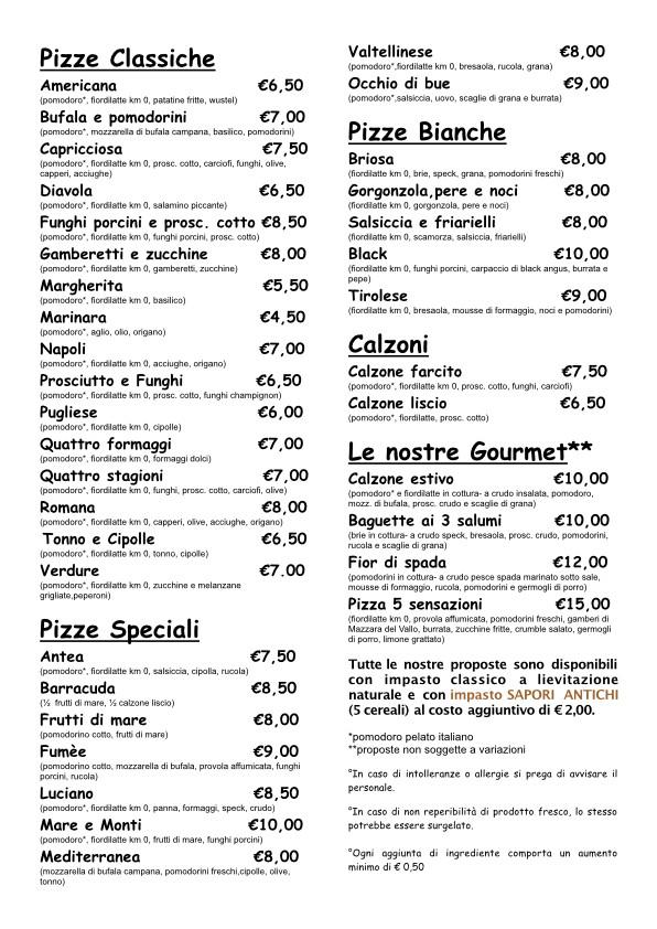 Ecco un menù Menù Pizze rinnovato.