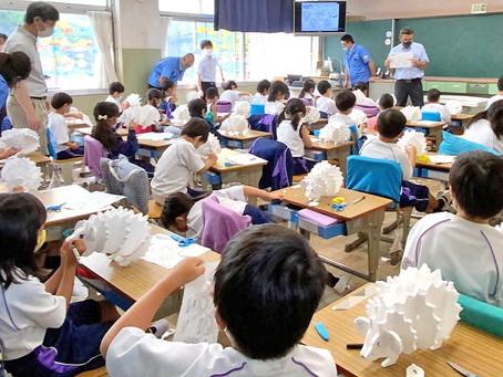 静岡大学教育学部附属浜松小学校にて発泡スチロールパズルを用いた授業を実施
