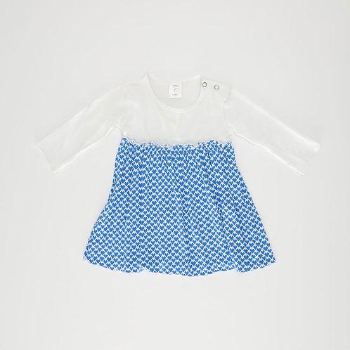 9-12M   שמלת טריקו כחול-לבן    טפליא