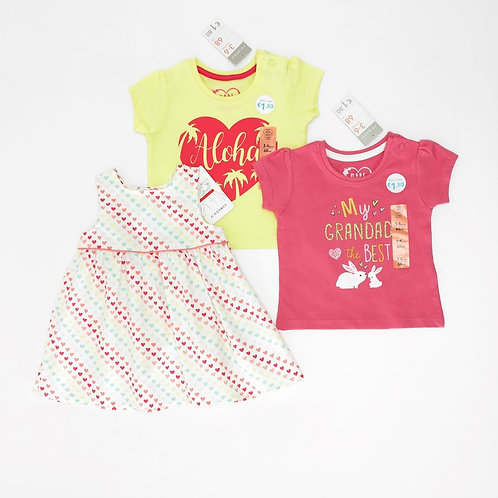 3-6M | CASTRO/Primark | סט חולצות ושמלת לבבות