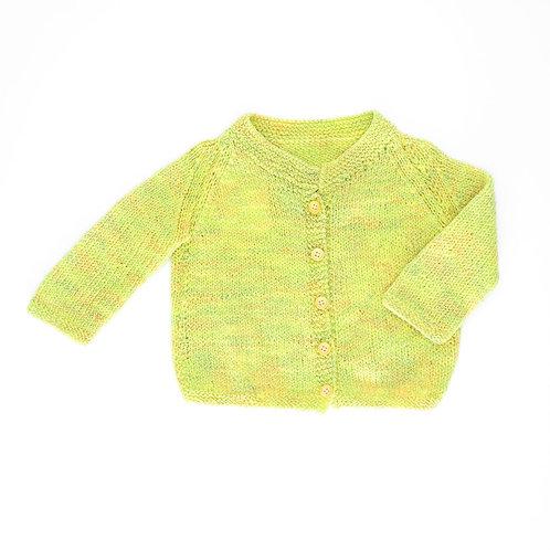 6-9m | קרדיגן צהוב-ירוק | עבודת יד