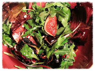 Mission figs with spring mix salad