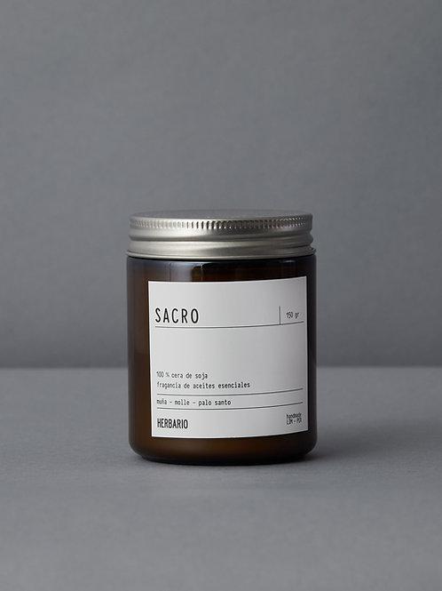Vela de cera de soja SACRO - molle, muña y palo santo