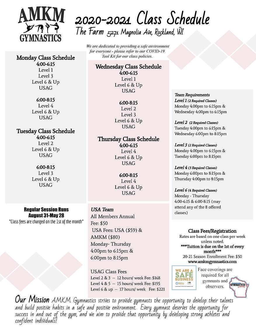 20-21 Class Schedule & COVID 19 - Return