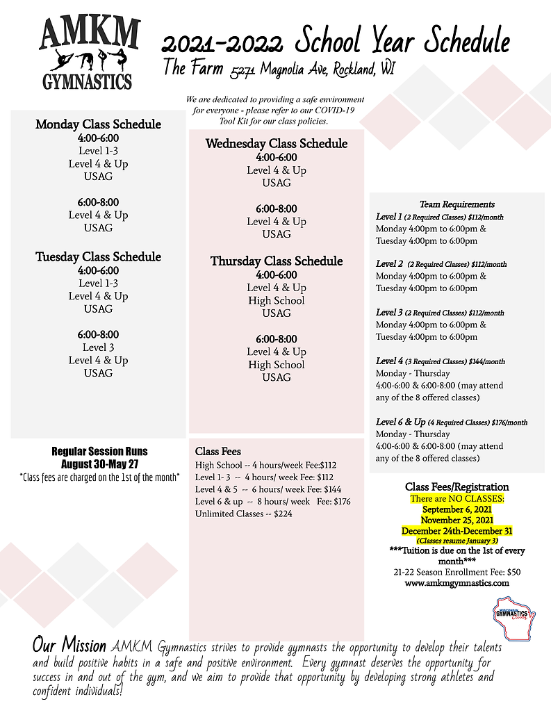 2021-22 School Year Schedule at the Farm