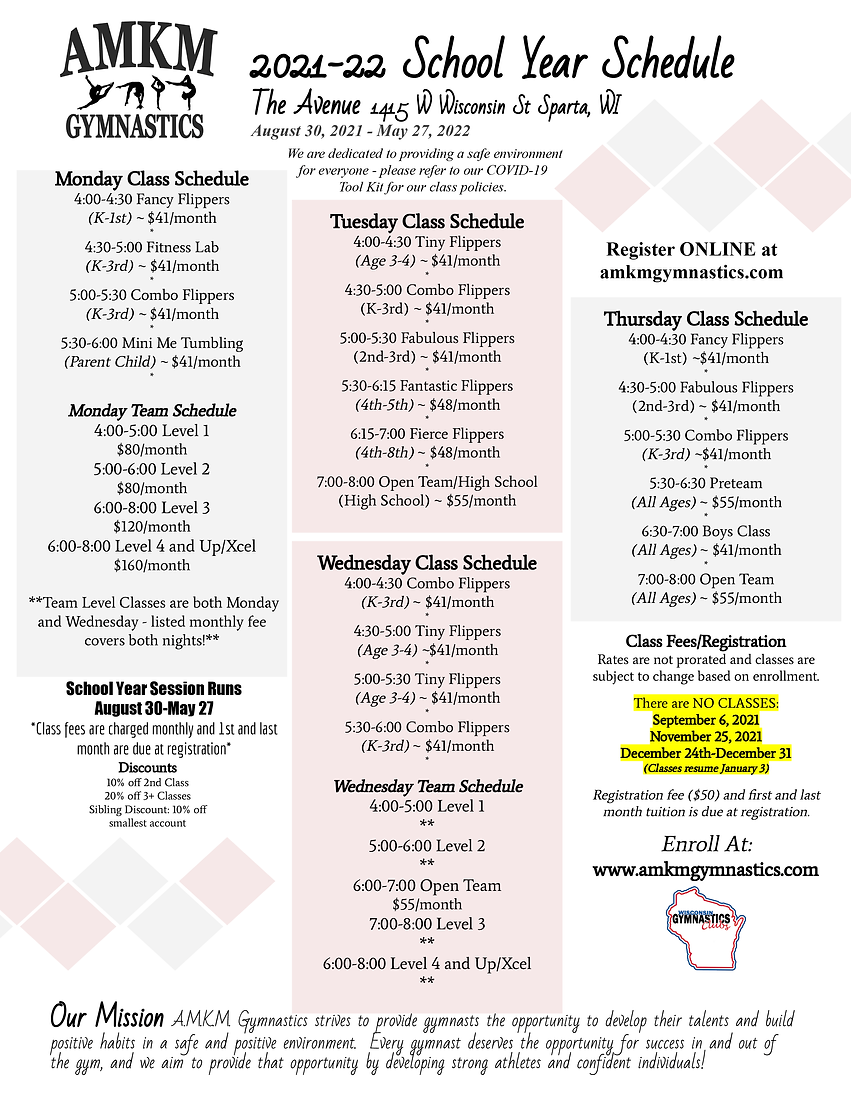 2021-22 School Year Schedule at the Aven