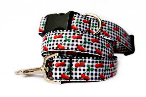 Cherry Gingham Dog Collar & Lead