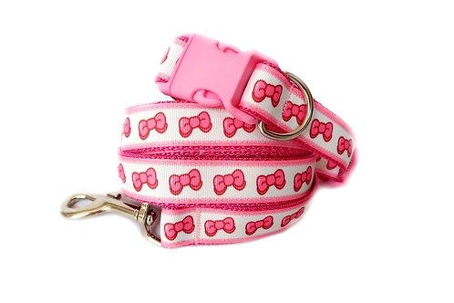 Pink Bow Dog Collar & Lead