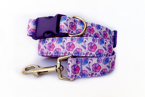 Lilac Poppy Dog Collar and Lead