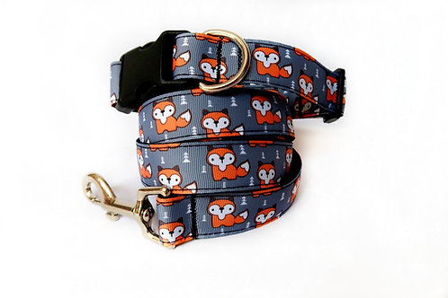 Grey Fox Dog Collar and Lead