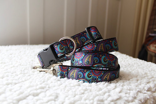 Paisley Print Dog Collar & Lead Set