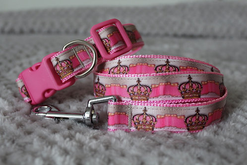 Crown Collar & Lead Set Pink