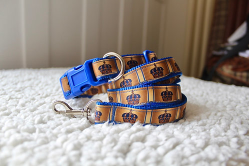 Crown Collar & Lead Set Blue
