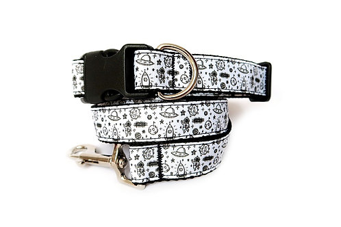 Space Rocket Dog Collar and Lead
