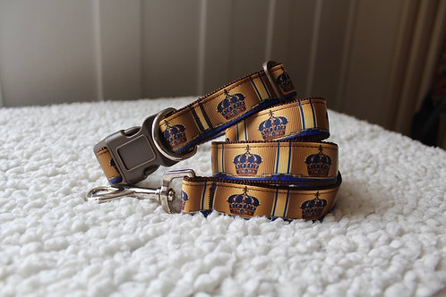 Crown Collar & Lead Set Blue & Brown