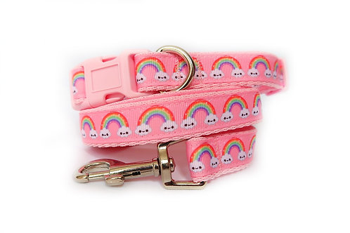 Rainbow Cloud Dog Collar and Lead