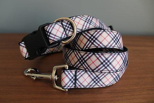 Beige Tan Tartan Dog Collar & Lead