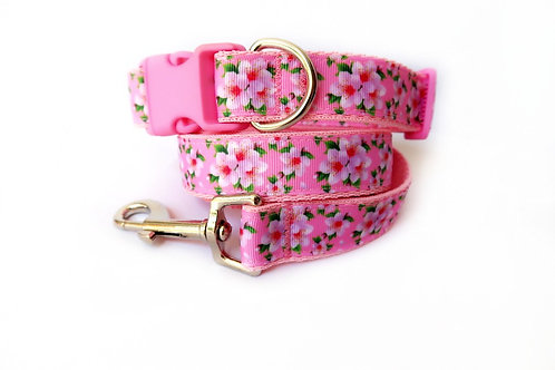 Cherry Blossom Dog Collar and Lead