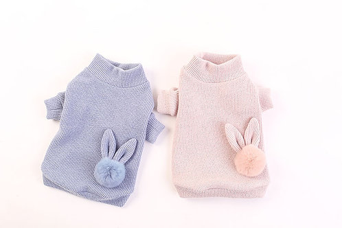 Bunny Fur Pom Knitted Dog Puppy Jumper