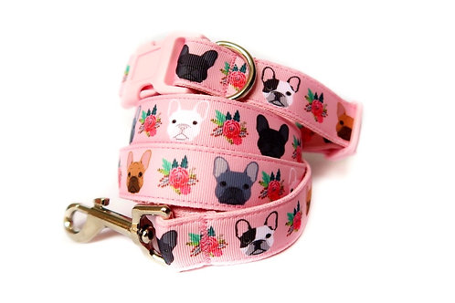 Rose Frenchie Dog Collar and Lead