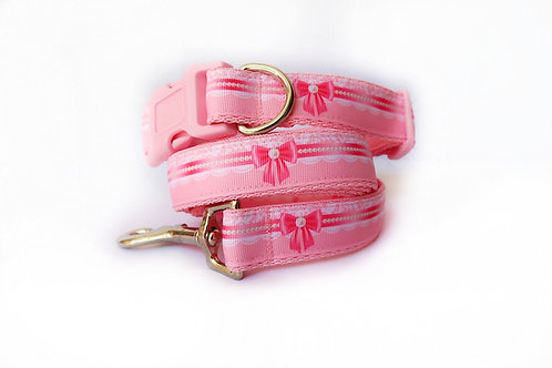 Pearl Bow Dog Collar and Lead