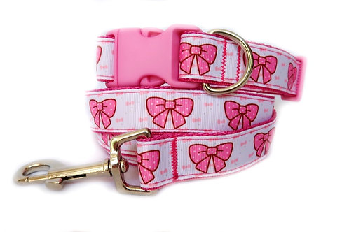 Pretty In Pink Bow Dog Collar and Lead