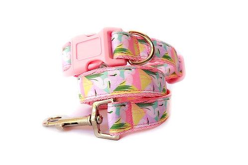 Miami Flamingo Dog Collar & Lead