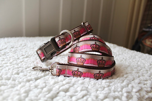 Crown Collar & Lead Set Pink on Brown