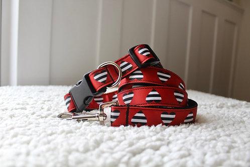 Heart Print Dog Collar & Lead Set