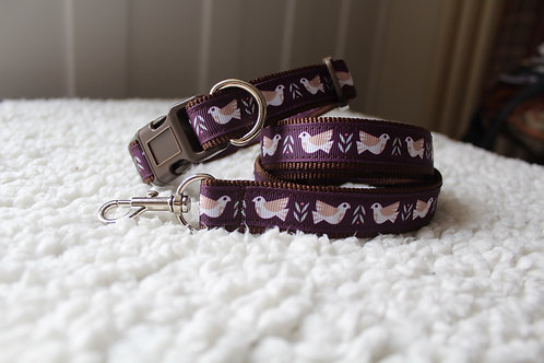 Dove Dog Collar & Lead Set