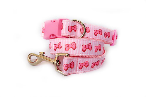Candy Bow Stripe Dog Collar and Lead