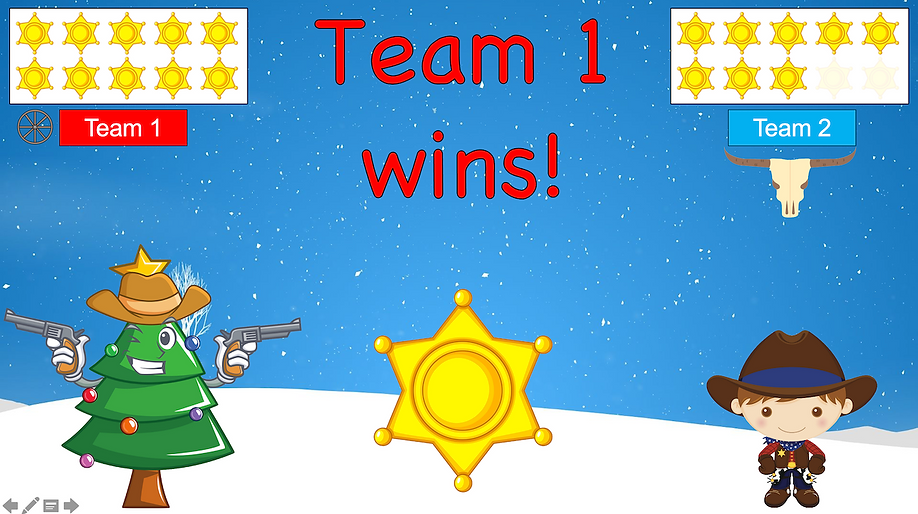 Quick Draw Christmas team 1 wins