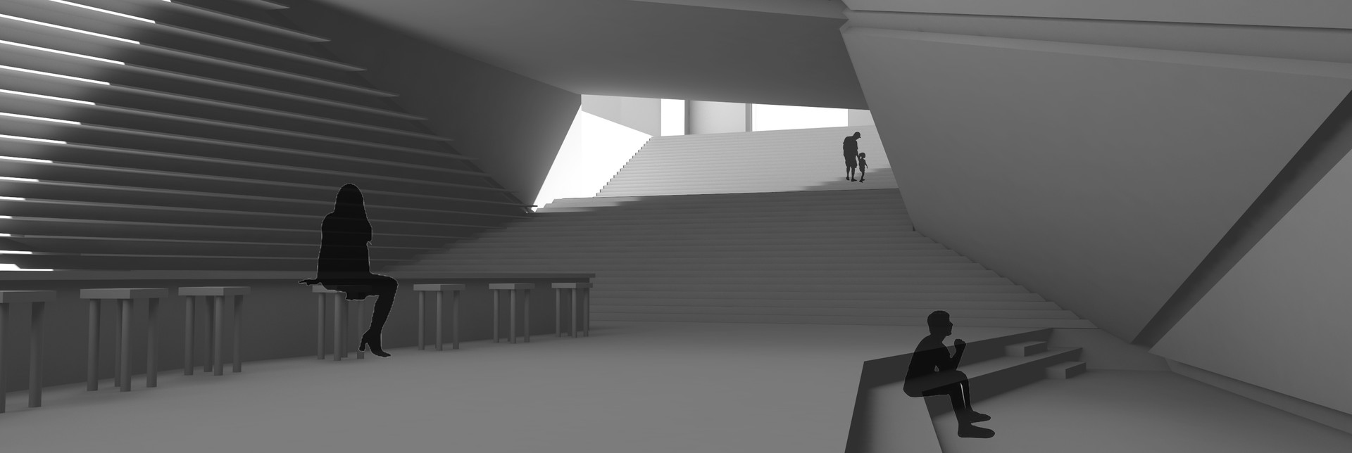 interior render of the memorial library