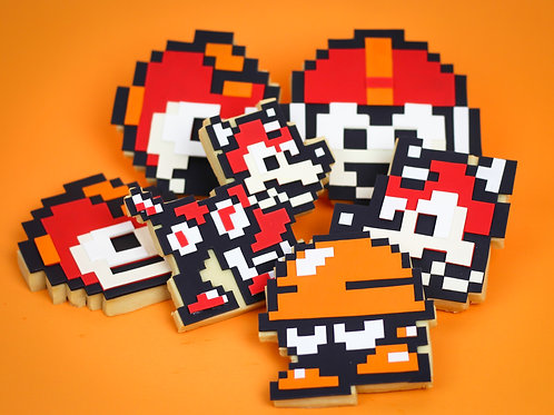 Make-your-own: 8 bit Classic gamer cookie Set
