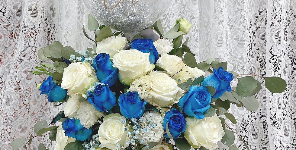 The Roman of blue blood - 藍玫瑰 情人節花 氣球上訊息可訂製