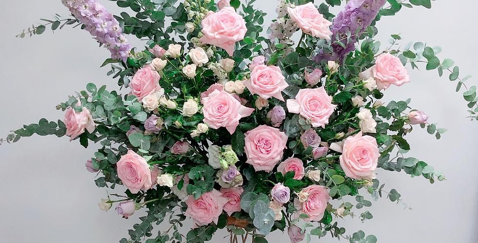 《紫醉粉迷》韓式花藝 開張花籃 繡球花 grand open flower basket