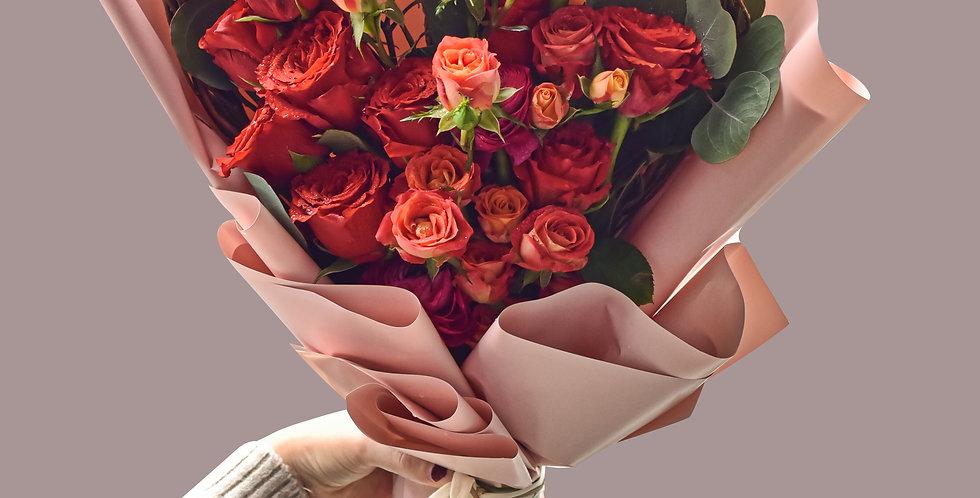 《溫柔小清新》 - 情人節花束 紅玫瑰花 生日花 紀念日花 觀塘花店 韓式花藝 flower delivery 網上花店