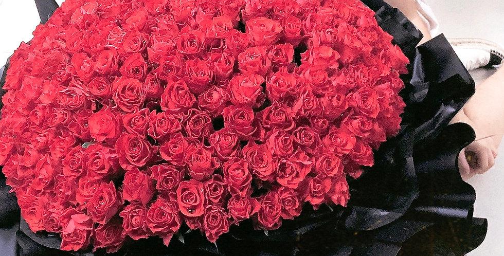《訂造獨一的愛 》2xx枝 求婚花束 紅玫瑰花束  紅玫瑰花 生日花 紀念日花  觀塘花店 韓式花藝 flower delivery 網上花店