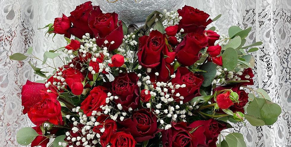 綻放的熱情-  紅玫瑰 情人節花束
