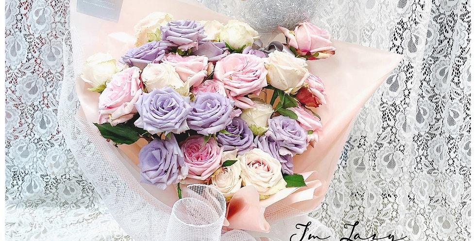 粉紫泡泡33枝 紫色玫瑰 情人節花束